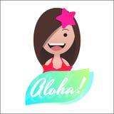 Μήνυμα Aloha! Επικεφαλής είδωλο του κοριτσιού στο μπικίνι Διανυσματική απεικόνιση