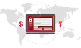 Μήνυμα encryptor ιών στην οθόνη lap-top Κλειδί για τα χρήματα Ελεύθερη απεικόνιση δικαιώματος