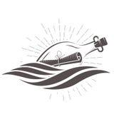 Μήνυμα SOS σε ένα μπουκάλι που επιπλέει στα κύματα διανυσματική απεικόνιση