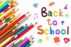 Μήνυμα & x22  Πίσω στο σχολείο & x22  με το μολύβι χρώματος Στοκ Εικόνες