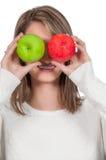 Μήλα εκμετάλλευσης γυναικών στοκ φωτογραφία