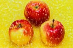 Μήλα κάτω από τους παφλασμούς νερού Στοκ Εικόνες