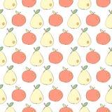 Μήλα και αχλάδια που σύρονται στο ιαπωνικό άνευ ραφής διανυσματικό υπόβαθρο ύφους κινούμενων σχεδίων Στοκ εικόνα με δικαίωμα ελεύθερης χρήσης