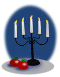 Μήλα και κηροπήγια Χριστουγέννων Στοκ εικόνα με δικαίωμα ελεύθερης χρήσης