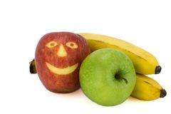 Μήλα και μπανάνα Στοκ φωτογραφίες με δικαίωμα ελεύθερης χρήσης