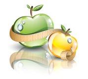 Μήλα με τη μέτρηση της γραμμής Στοκ εικόνες με δικαίωμα ελεύθερης χρήσης