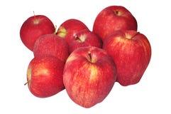 Μήλα που απομονώνονται κόκκινα στο λευκό Στοκ Φωτογραφίες