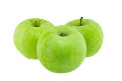 μήλα πράσινα απομονωμένα τρία Στοκ Φωτογραφίες