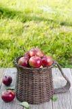 Μήλα σε ένα καλάθι σε έναν ξύλινο πίνακα Στοκ φωτογραφία με δικαίωμα ελεύθερης χρήσης
