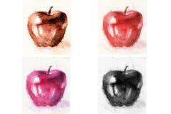 4 μήλα στο άσπρο υπόβαθρο watercolor Στοκ Φωτογραφίες