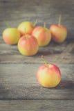 Μήλα στο παλαιό ξύλινο υπόβαθρο - εκλεκτής ποιότητας ύφος επίδρασης Στοκ φωτογραφία με δικαίωμα ελεύθερης χρήσης