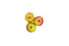 μήλα τρία λευκό Στοκ Φωτογραφία