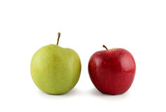 μήλα δύο λευκό Στοκ Εικόνα