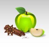 Μήλο και κανέλα ελεύθερη απεικόνιση δικαιώματος
