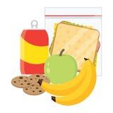 Μήλο, μπανάνα, σάντουιτς και μπισκότα σχολικού μεσημεριανού γεύματος ελεύθερη απεικόνιση δικαιώματος