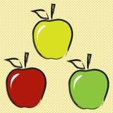 Μήλο τριών περιγράμματος Στοκ εικόνα με δικαίωμα ελεύθερης χρήσης