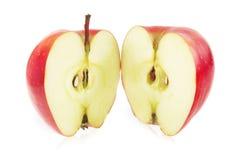 μήλων κόκκινο λευκό δύο μερών ανασκόπησης απομονωμένο αποκοπή Στοκ Εικόνες
