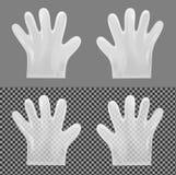 Μίας χρήσης διαφανή πλαστικά γάντια διανυσματική απεικόνιση