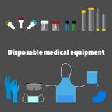 Μίας χρήσης ιατρικός εξοπλισμός, εργαλεία και ενδύματα εργασίας Στοκ Εικόνες