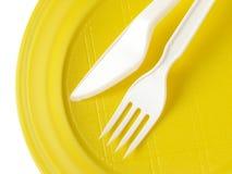 μίας χρήσης πιάτο κίτρινο Στοκ Εικόνες