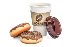 Μίας χρήσης φλιτζάνι του καφέ με τη σοκολάτα donuts, τρισδιάστατη απόδοση Στοκ εικόνες με δικαίωμα ελεύθερης χρήσης
