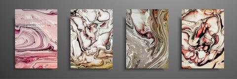 Μίγμα ακρυλικών χρωμάτων Υγρή μαρμάρινη σύσταση Ρευστή τέχνη Εφαρμόσιμος για την κάλυψη σχεδίου, παρουσίαση, πρόσκληση Στοκ εικόνα με δικαίωμα ελεύθερης χρήσης