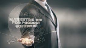 Μίγμα μάρκετινγκ για το λογισμικό προϊόντων με την έννοια επιχειρηματιών ολογραμμάτων διανυσματική απεικόνιση