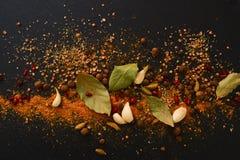 Μίγμα των αρωματικών καρυκευμάτων: μαύρο πιπέρι, κάρρυ, καρδάμωμο, barberry, Στοκ Εικόνα