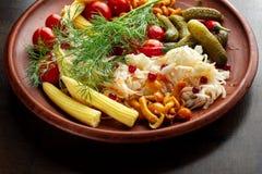 Μίγμα των διαφορετικών πρόχειρων φαγητών και του ορεκτικού Μαριναρισμένα φαγητό-2 Στοκ φωτογραφία με δικαίωμα ελεύθερης χρήσης