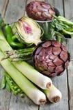 Μίγμα των πράσινων λαχανικών στο παλαιό ξύλινο υπόβαθρο Στοκ Εικόνες