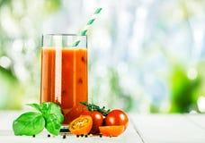 Μίγμα φυτικού χυμού με τη φρέσκους ντομάτα και το βασιλικό Στοκ Φωτογραφία