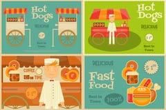 Μίνι αφίσες γρήγορου φαγητού Στοκ Εικόνα