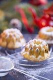 Μίνι κέικ κερασιών Bundt που ψεκάζονται με την κονιοποιημένη ζάχαρη Στοκ Φωτογραφία