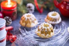 Μίνι κέικ κερασιών Bundt που ψεκάζονται με την κονιοποιημένη ζάχαρη Στοκ εικόνα με δικαίωμα ελεύθερης χρήσης