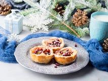 Μίνι πίτες μήλων Χριστουγέννων με τους σπόρους ροδιών Στοκ Εικόνες