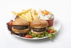 Μίνι πιατέλα Burgers με τηγανισμένος & σαλάτα Στοκ Εικόνα