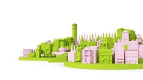 Μίνι ροζ και πράσινος έννοιας πόλεων παιχνιδιών παλαιοί που απομονώνονται στην άσπρη, τρισδιάστατη απόδοση Στοκ Φωτογραφία