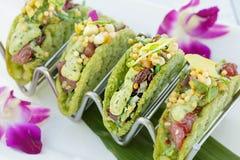 Μίνι σπρώξιμο Tacos Ahi Στοκ φωτογραφίες με δικαίωμα ελεύθερης χρήσης