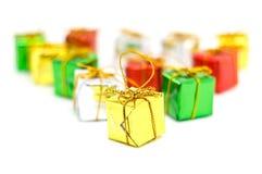 Μίνι στενός επάνω κιβωτίων δώρων Στοκ εικόνα με δικαίωμα ελεύθερης χρήσης