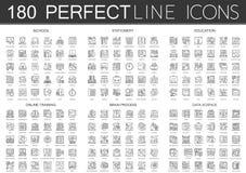 180 μίνι σύμβολα εικονιδίων έννοιας περιλήψεων του σχολείου, χαρτικά, εκπαίδευση, on-line κατάρτιση, διαδικασία μυαλού εγκεφάλου, ελεύθερη απεικόνιση δικαιώματος