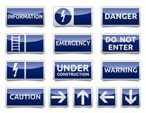 Μίνι σύνολο σημαδιών κινδύνου μπλε Στοκ φωτογραφίες με δικαίωμα ελεύθερης χρήσης