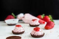 Μίνι Mousse φραουλών σοκολάτας επιδόρπιο στοκ φωτογραφία με δικαίωμα ελεύθερης χρήσης