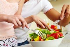 Μίξη των συστατικών σαλάτας Στοκ Φωτογραφία