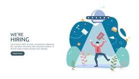 Μίσθωση εργασίας και σε απευθείας σύνδεση έννοια στρατολόγησης με το μικροσκοπικό χαρακτήρα ανθρώπων συνέντευξη αντιπροσωπειών επ απεικόνιση αποθεμάτων
