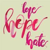 Μίσος αγάπης ελπίδας Στοκ Εικόνες