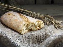 Μίσχοι ψωμιού και σίτου Ciabatta στο αγροτικό ξύλο στοκ φωτογραφία