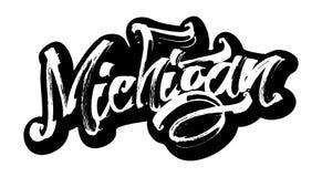 Μίτσιγκαν sticker Σύγχρονη εγγραφή χεριών καλλιγραφίας για την τυπωμένη ύλη Serigraphy Στοκ Εικόνες
