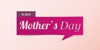 14 Μαΐου έμβλημα ημέρας Mother's που απομονώνεται στο κίτρινο υπόβαθρο Στοκ Φωτογραφία