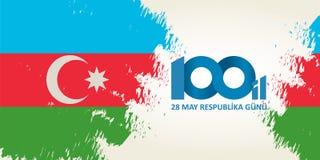28 Μαΐου gunu Respublika Μετάφραση από τα αζερμπαϊτζανικά: Στις 28 Μαΐου Ρ ελεύθερη απεικόνιση δικαιώματος