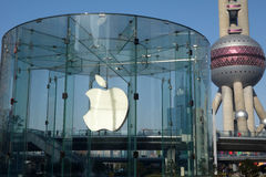 Μαγαζί λιανικής πώλησης της Apple στη Σαγκάη pudong Στοκ Εικόνες